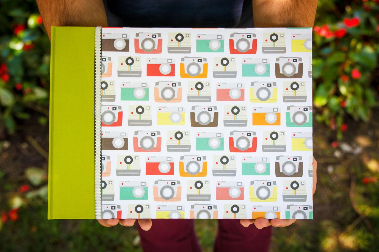 álbum personalizado hecho a mano temática cámaras de fotos
