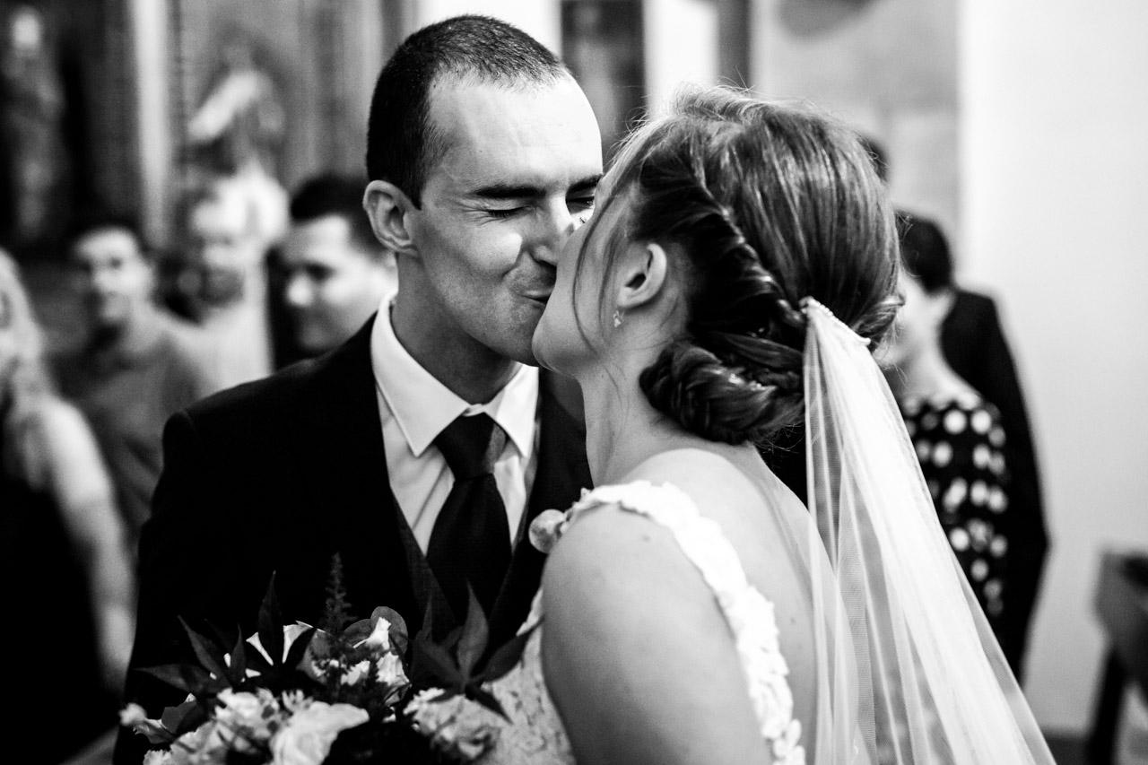 primer beso de los novios en una boda en guadalupe