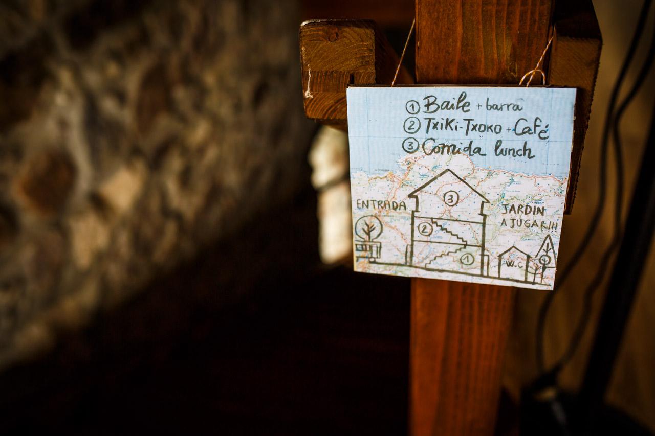 el mapa del restaurante en una boda en oiartzun