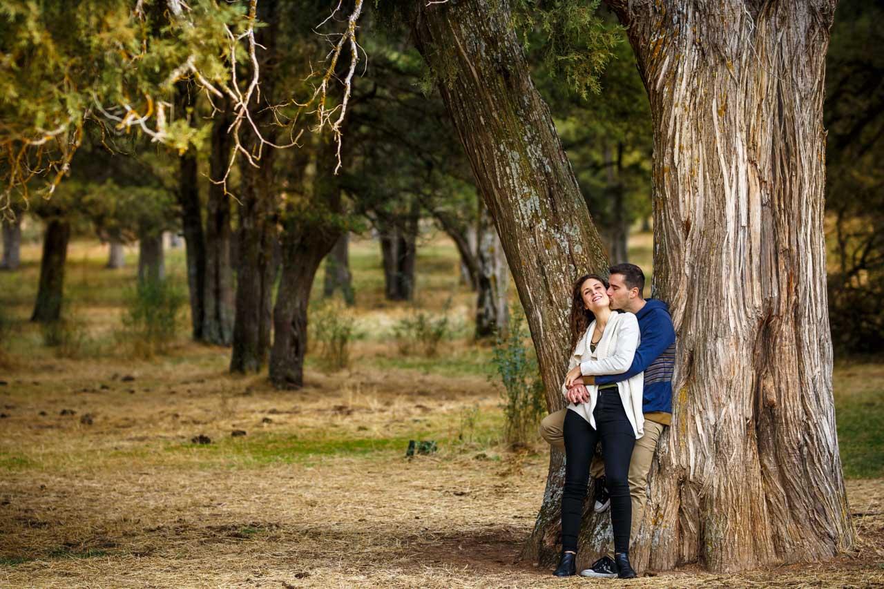 los novios apoyados en uno de los arboles de el sabinar en una preboda en Soria