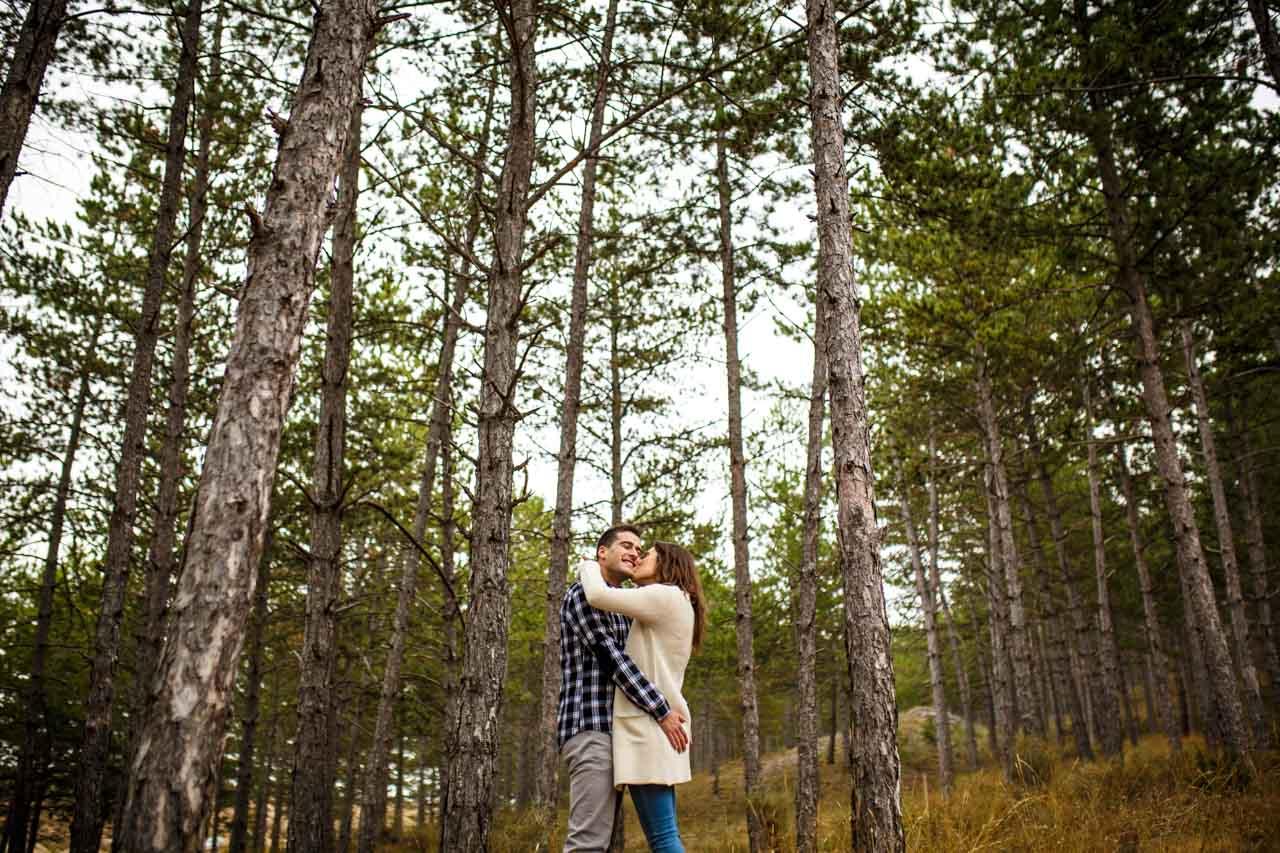 los novios abrazados en un pinar en una preboda en Soria