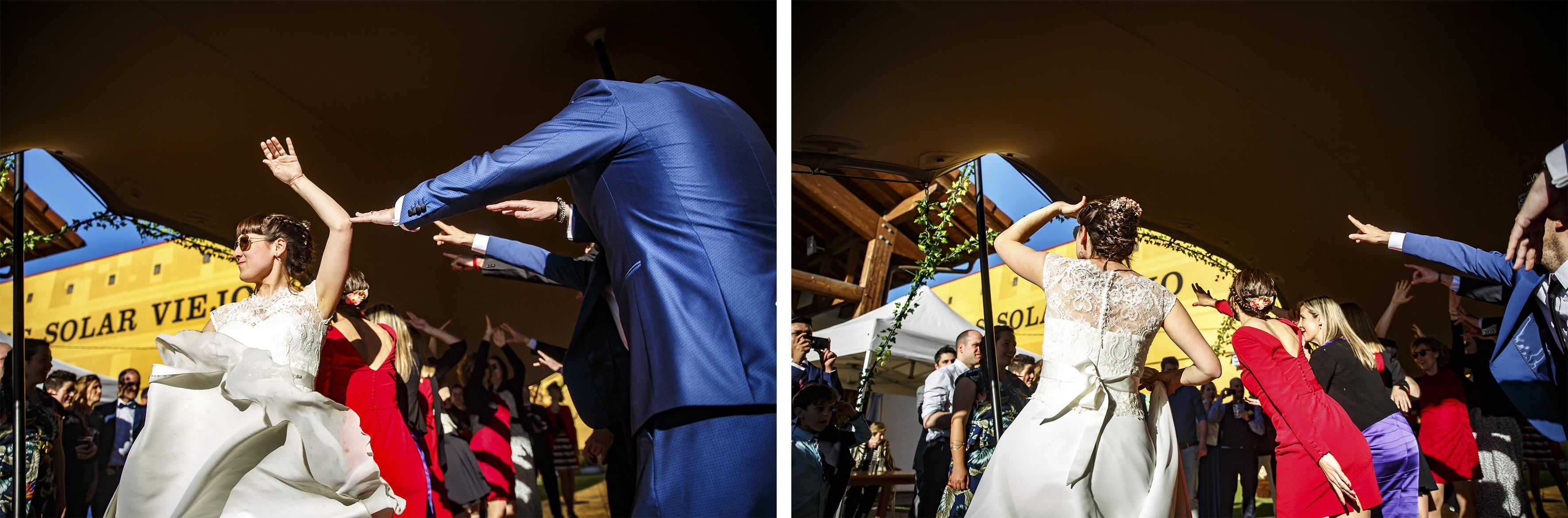 momentos del baile de los novios con los amigos en una boda en laguardia