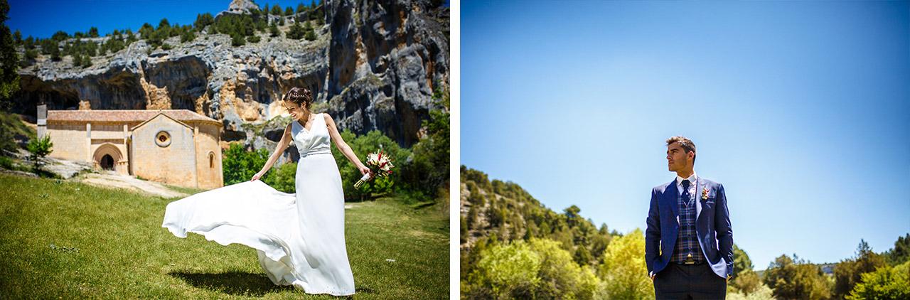 fotos mientras la novia se coloca el vestido y el novio la mira en una boda en soria