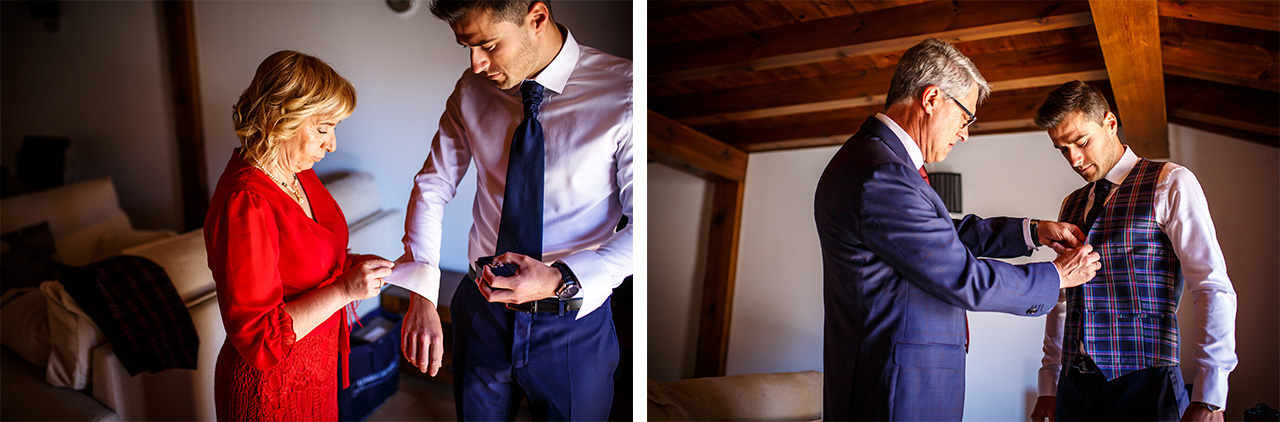 fotos de los padres del novio ayudandole a vestirse en una boda en soria